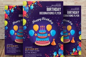 Birthday Decoration Flyer Template