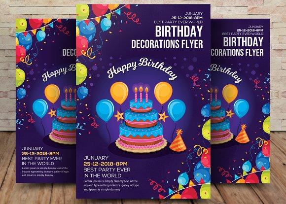 birthday decoration flyer template flyer templates creative market