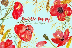 Ructic Poppy watercolor Clip Art