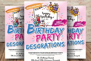 Birthday Party Decorations Flyer