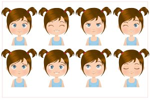 Little Girl Expressions Set