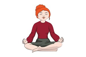 girl (woman) sitting in a yoga pose