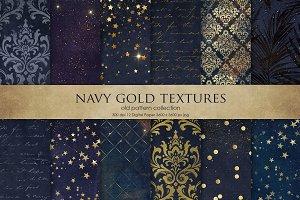 Navy Blue Gold Digital Paper