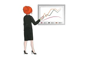 Businesswoman (woman) draws a chart