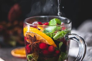 Hot fruit tea with spices