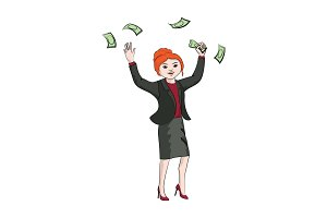 Businesswoman (woman) throws money