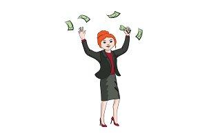 Businesswoman (woman) throws money