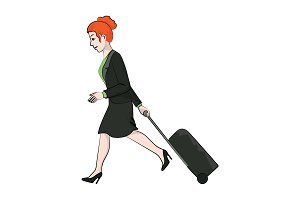 woman walks with a travel suitcase