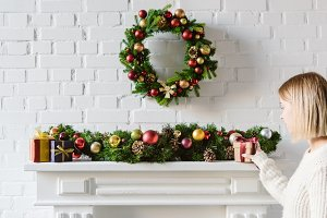 christmas wreath and decorations ove
