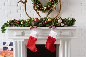 christmas wreath with decorations, s