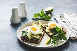 Healthy breakfast toast with avocado
