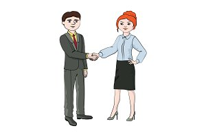 woman (girl) shakes hands with a man