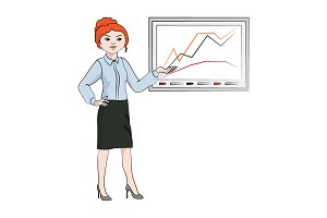 Businesswoman, girl shows the chart