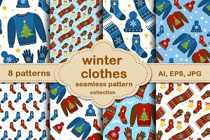 Christmas winter clothes pattern set
