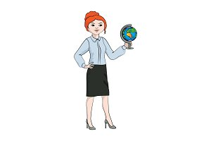 Businesswoman (woman) with a globe