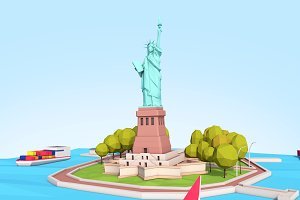Low Poly Statue Of Liberty Scene