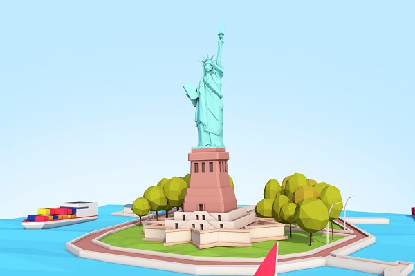 3D Models: Anton Moek - Low Poly Statue Of Liberty Scene