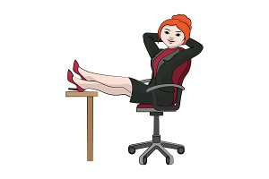 Businesswoman sits in chair (relax)