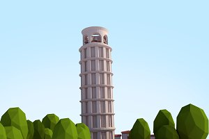 Cartoon Low Poly Pisa Tower Landmark