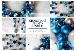 Blue&silve christmas balls boundle