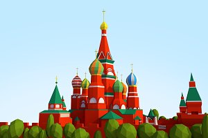 Cartoon Lowpoly Kremlin Landmark