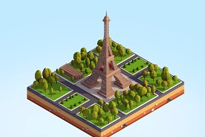 Cartoon Low Poly Eiffel Tower