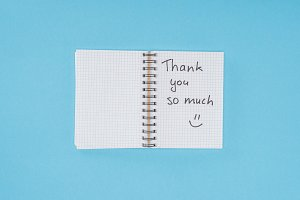 notebook with thank you so much lett