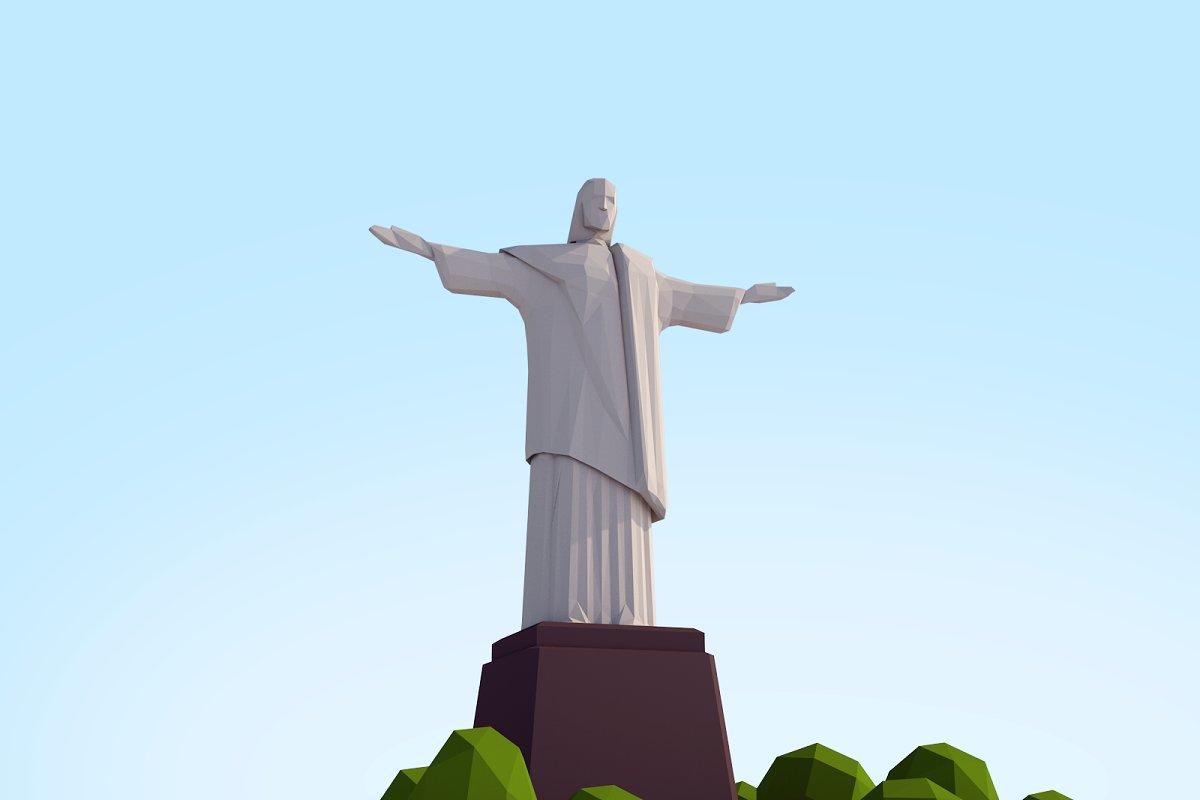 Cartoon Low Poly Christ Redeemer