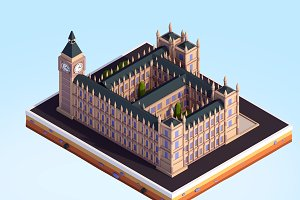 Cartoon Low Poly Big Ben Landmark
