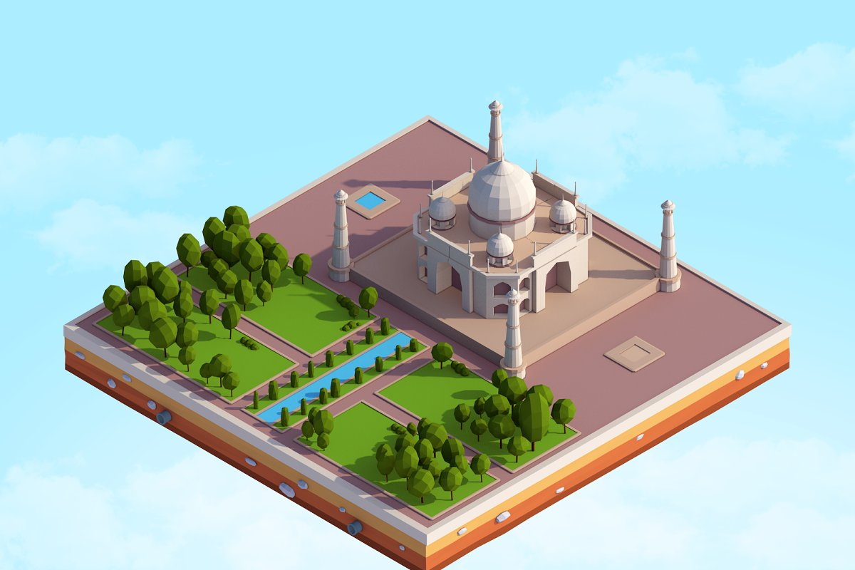 Cartoon Low Poly Taj Mahal Landmark