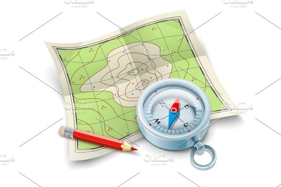 Compass map and pencil for tourism travel
