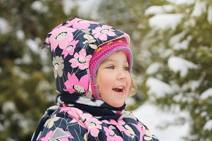 Child winter sunny morning