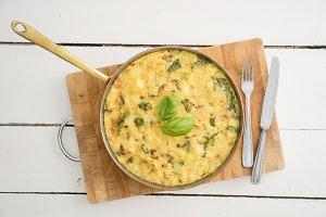 Frittata omelette in a skillet