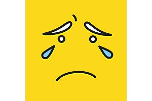 Smile icon template design. Cry sad