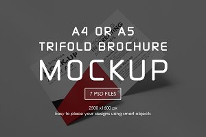A4 or A5 Trifold Mockups