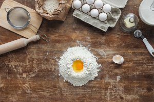 top view of white flour pile with eg