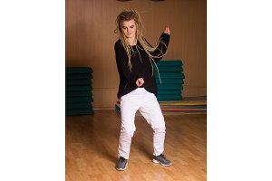 Cute dancer shows movements
