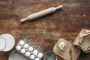 top view of baking ingredients on wo