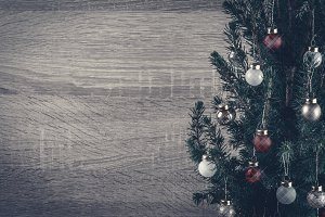 Beautiful Christmas tree on wooden b