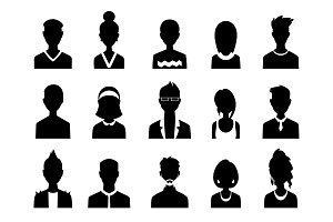 Set of vector men and women with