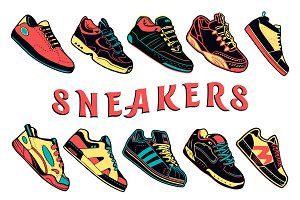 Sport Shoes Set, Sneakers Vector