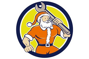 Santa Claus Mechanic Spanner Circle
