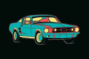 Colourful Mustang Car Vector