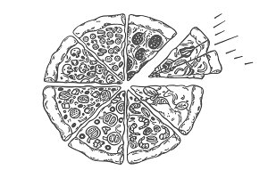 Nice Pizza top view, Sketch, Vector