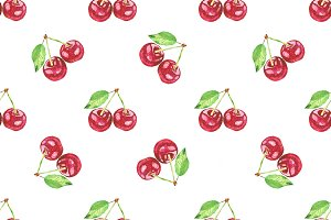 cherries. Vector watercolor painting
