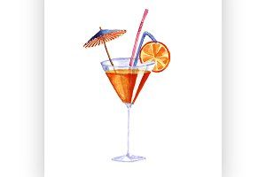 cocktail. Vector watercolor painting