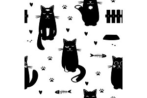 Vector seamless pattern with black