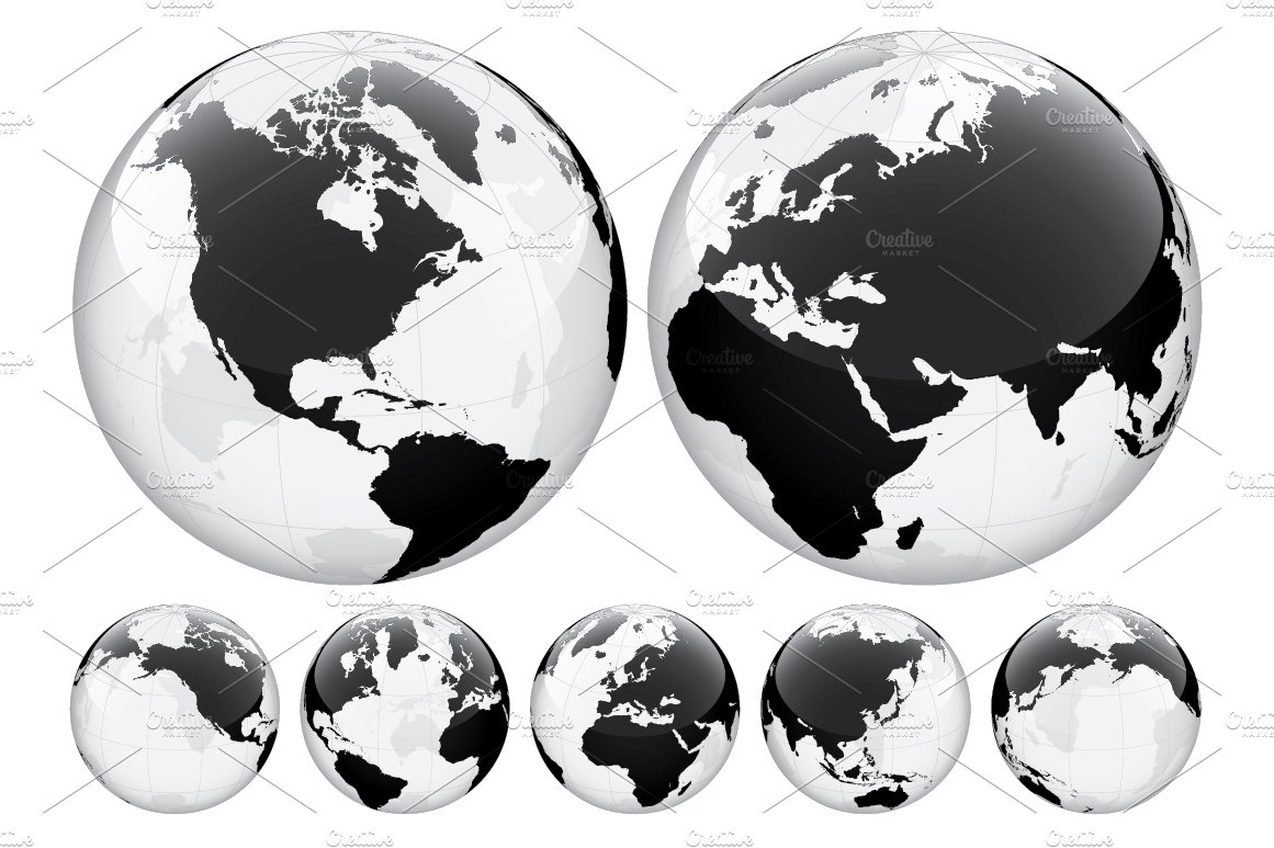 Globe with world map transparent illustrations creative market gumiabroncs Gallery