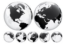 Globe with World Map. Transparent.