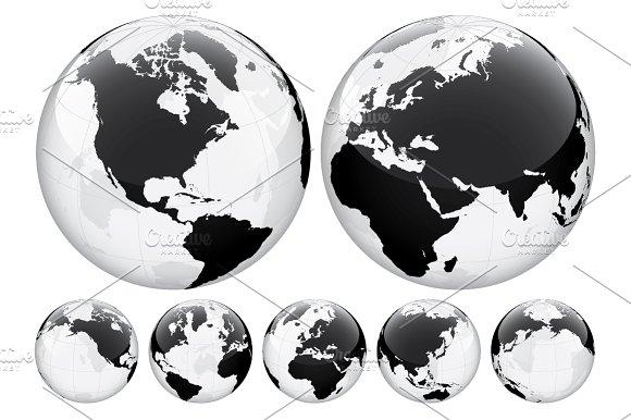 Globe with World Map. Transparent. - Illustrations
